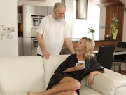 VIP4K. Sweet blonde gives a blowjob to old man and gets banged