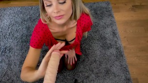 Milf caught and embarrassed by stepson and begs her way out with a blowjob POV