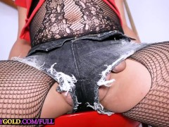 Busty Asian shemale babe takes a big dick inside her tight asshole