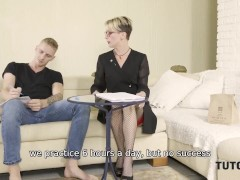TUTOR4K. Man is naughty attacking and banging blonde teacher of Russian language