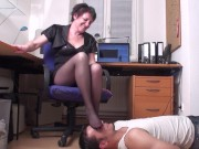 home offe feet sniffing slave