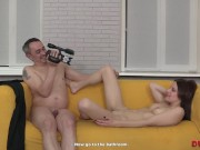 Older boy humps slender chick on the yellow sofa on camera