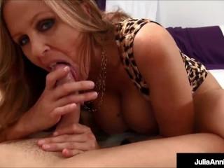 Sensual Stroker Julia Ann Uses Hands & Warm Mouth To Milk A Big Long Cock!