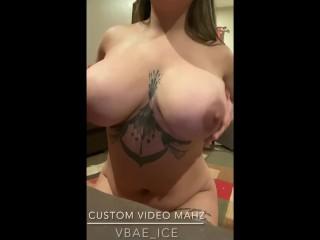 Dildo play, big tit wife Latina milf, Cum on tits, Custom video for #1 fan