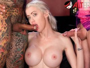 Busty inked blonde gets a new tattoo and two big dicks