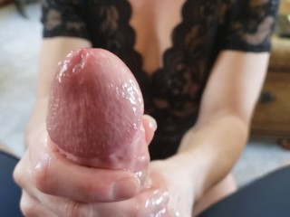 Penis was a minute from busting cum.  Electric Lunchtime handjob gets cut short by the plumber.
