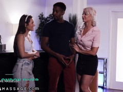 Step-Family Go Wild For A Threesome Massage