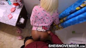 HD My Stepdaughter Msnovember Penetrated Standing Up From The Back, Smashing Her Juicy Pussy Through Her Pajamas, Screaming i