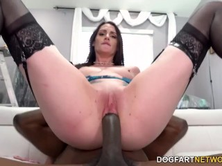 Painters Paint White BBC Slut Aria Khaide's Pussy While Her Stepson Watching