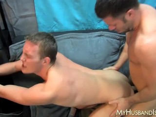Hunky bottom ass fucked by younger bot