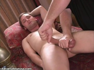 Cameron's cock became rock-hard and quite thick as I probed his prostate