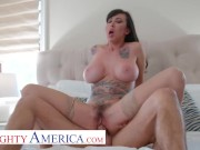 Naughty America - Lily lane wants to take a ride on a hard cock and be showered with cum