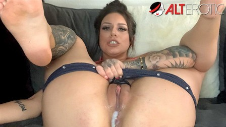 Busty inked up brunette Tori Avano fucks her creamy pussy with toys