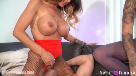 Hard Cock Lance Hart gets his prostate railed by two Slutty Leigh Raven and McKenzie Lee.