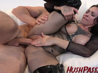 Fishnet, Leather, Boots, and a Big White Cock for Harlow