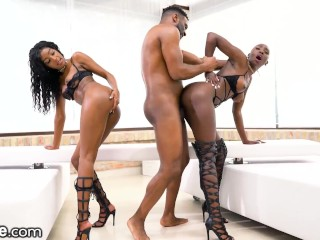 Beautiful Ebony Duo Pounded By Daddy