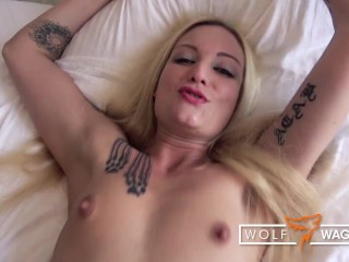 Casting fuck & cum in mouth for skinny slut Kitty Blair (PT 2)! WOLF WAGNER CASTING