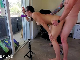 Athletic Milf has threesome fantasty with a dildo and husband, finishing with a creampie.
