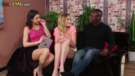 CFNM dommes blowing cock in interracial trio