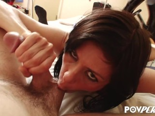 POVPERV Big tit brunette MILF Alexis Fawx sucking and jerking a hard cock