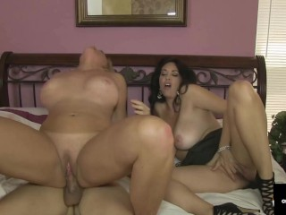 Lucky Young Stud Bangs 2 MILFs! Charlee Chase N Alexis Golden Share A Cock!