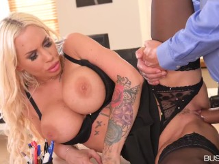 Big-Tittied Blonde Kyra Hot Exchanges Paltry Dildo for Her Boss' Shaft