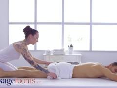 Massage Rooms Tattooed pale Euro girl Esluna erotic massage romantic sex and passionate blowjob