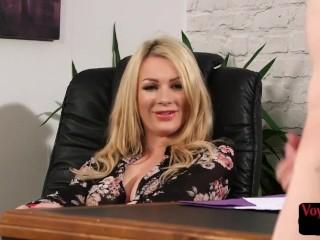 Busty office voyeur dirty talks to JOI subject