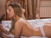 BLACK4K Russian girl sucks BBC and takes white panties down to be fucked