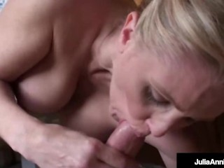 Busty Beautiful Nut Busting Cougar Julia Ann Jacks Off A Lucky Hard Cock!