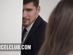 Hot brunette seduces her manager