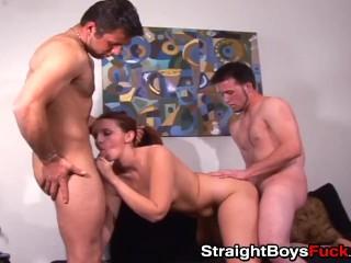 Amateur dudes share horny cute babe