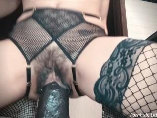 Pussy Stretching on BBC Dildo Maximum Capacity Dirty Talk Kink Contest Vid SeninaUnderwear Lingerie