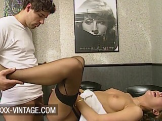 Debbie Van Gils gets a French baguette from her boss