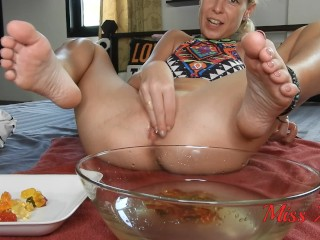 HD Kinky Hot Blonde Stuffing AND Tasting PEE Gummies Straight From Her Shaved Pussy