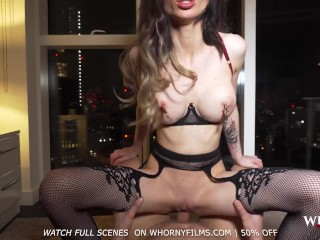 WHORNYFILMS- Super sexy elegant babe teasing in heels and stockings gets ass fucked