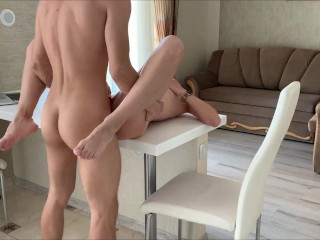 Real passionate sex of a beautiful couple in the kitchen, cum on ass