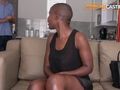 Hot ebony amateur deep throat and anal on casting couch by big white cock