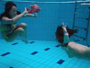 Alla and Liza two horny teens in swimming pool
