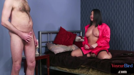 Curvy british femdom undresses for tugging submissive