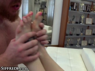 POV 3-Way Casting of a Babe With Tattoos