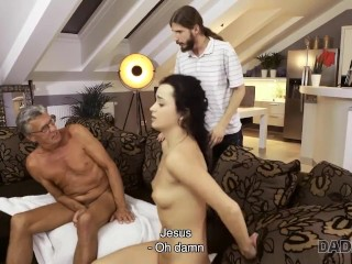DADDY4K Sweetie and BFs old father have sneaky sex behind boys back