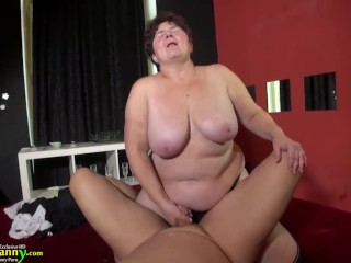 OLDNANNY Hot mature mom is playing with toys and strapons