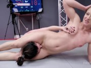 Aria Khaide Wrestles Cheyenne Jewel With Face Sitting Then Is Rammed Hard With a Strapon
