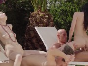 ULTRAFILMS Timea Bella and Daniella Rose having a great group sex action outside while weather is go