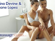 Massage Rooms Euro Goddesses Megane Lopez and Shalina Devine intimate orgasmic lesbian sex
