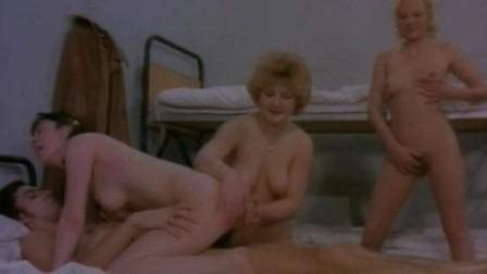Retro german babes sharing hairy cock