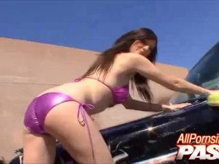 Busty Pornstar Skyla Shy Hot Car Wash Tease
