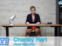 Camsoda News Network Charley Hart rides the Sybian while giving the news