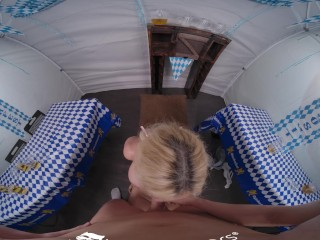 VR BANGERS Outdoor Sex With Naughty Mature Waitress VR Porn